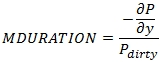 XLeratorDB regular periodic interest modified duration formula for RPIMDURATION function for SQL Server
